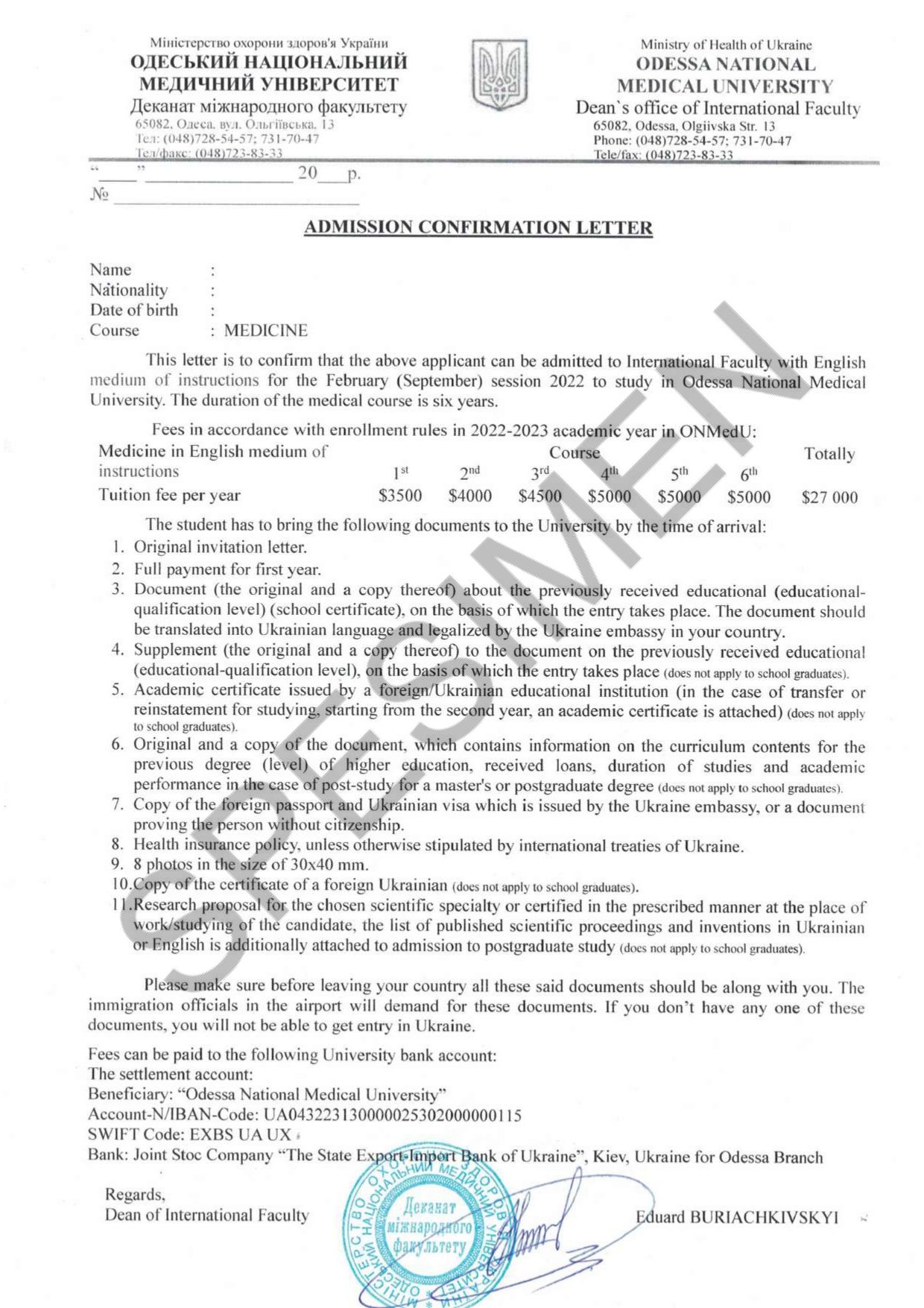 Odessa National Medical University Admission Procedure